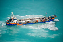 Suction Dredger Emptying Sluices, Spoiling Water Of Gulf With Mud Spot, Pollution, Brown Muddy Water - Aerial Shot