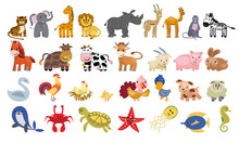 A Big Set Of Animals For Making Posters, Projects For Children. A Flat Illustration.