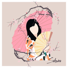 Modern Faceless Portrait Of A Girl With An Umbrella Among The Branches Of Blossoming Sakura. Vector Illustration In A Flat Style.