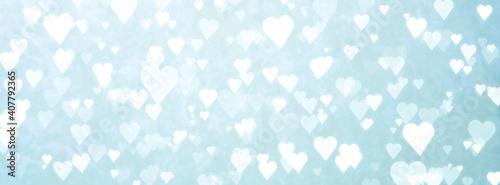 Obraz valentines day - defocused white hearts background on blue background - february 14 - fototapety do salonu