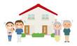 二世帯住宅と怒る老夫婦のイラスト。問題に直面して困ってる若い夫婦。