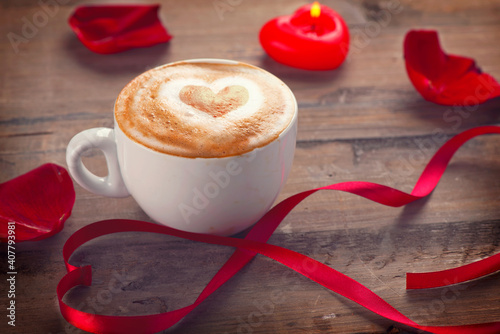Valentine`s Day coffee with heart on foam Wallpaper Mural