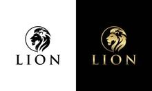 Circle Head Lion Logo Design Template. Lion Head Logo. Vector Illustration