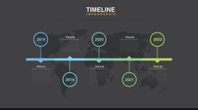 Dark Mode Abstract Business Rounded Infographic Template With 5 Options. Colorful Diagram, Timeline And Schedule Isolated On Light Background.