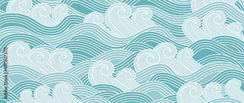 Fototapeta Traditional Japanese wave pattern vector. Luxury oriental style wallpaper. Hand drawn line arts design for prints, fabric, poster and wallpaper. obraz
