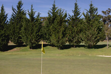 Yellow Flag On The Green At A Golf Course