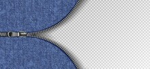 3d Realistic Vector Background With Slider Zip With Jeans Texture.