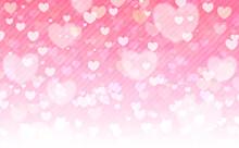 バレンタインのハートの背景。贈り物やお祝い、恋人、かわいいピンクから白のグラデーション、ストライプがベース