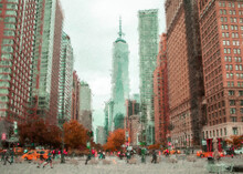 Beautiful Acrylic Painting Of New York City Buildings. Watercolor Digital Drawing Cityscape Big City Downtown. Oil Painting On Canvas Of New York Skyscapers American Town. Use For Home Decoration Art
