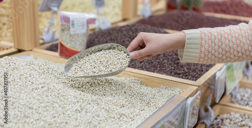 Fotografia, Obraz Legumes and grains in supermarkets