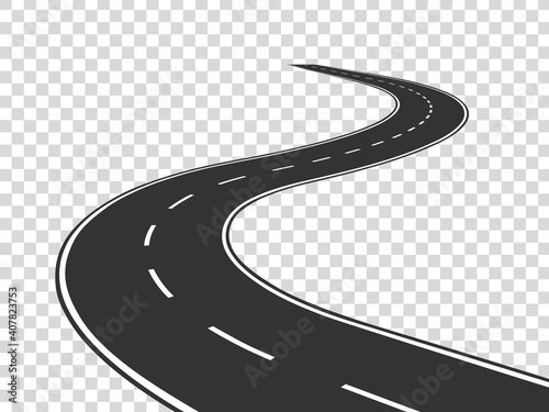winding road journey traffic curved highway road horizon perspective winding asp Fototapet