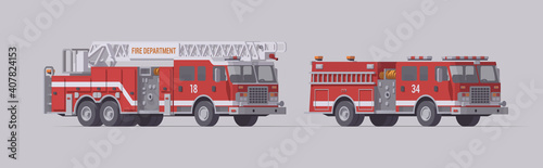 Valokuva red fire truck set type 1 rescue fire engine ladder rescue fire engine (1)