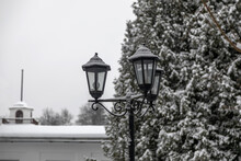 Vintage Lantern On The Background Of A Christmas Tree With Snow. A Beautiful Snowy Day.