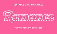 Romance Graphic Style Design. Editable Graphic Style With Love Pattern And Pink Background Color. Usable For Text And Shape. Flat Design Vector.
