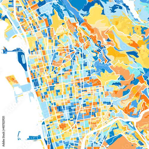 Photo Art map of Berkeley, UnitedStates in Blue Orange