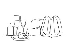 Table With Various Cookies, Tarts, Cakes, Drinks, Cupcakes And Cachepots - Continuous One Line Drawing