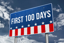 First 100 Days Presidency - Road Sign Illustration