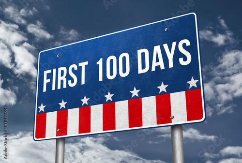 Fotografie, Obraz First 100 days presidency - road sign illustration