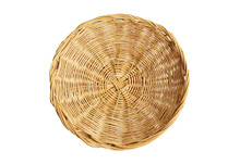 Empty Wicker Basket On White Background, Top View. Clipping Path Included.
