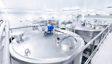 Beer Factory Industry. Equipment Steel Tanks For Fermentation And Maturation