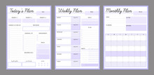 3 Set Of Daily Weekly Monthly Planner Printable Template (purple). Easy To Plan Your Day. Blank Printable Vertical Notebook Page. Business Organizer.