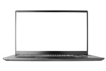 Laptop With Blank Screen On White Background Isolated Close Up Front View, Modern Slim Computer Design, Open Empty Display, Pc Mockup, Studio Shot, Copy Space