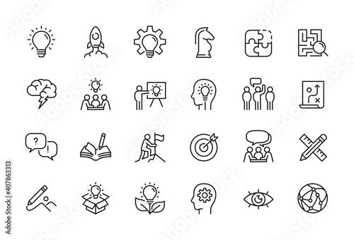 Creative business solutions related icon set. Innovation team management. Editable stroke. Pixel Perfect at 64x64