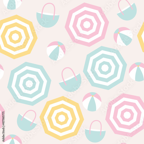 Seamless pattern of beach umbrellas, beach balls, and beach bags Fototapet