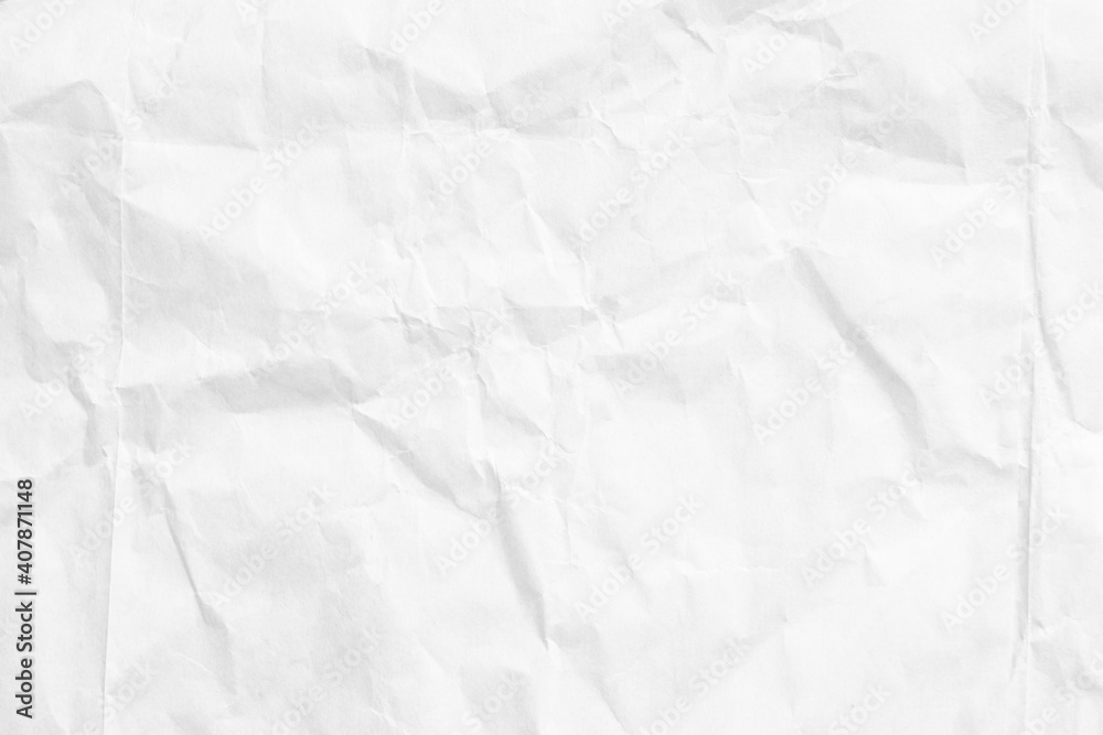 Fototapeta White paper sheet texture background with crumpled wrinkled and rough pattern, empty blank paper page material for any design