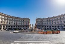The Piazza Della Repubblica In Rome, At The Summit Of The Viminal Hill, Next To The Termini Station.
