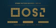 Vintage Golden Geometric Pattern Borders Frames, Traditional Ethnic Vector Border Frame Collection