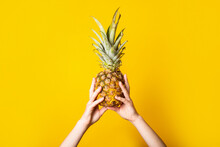 Female Hands Hold A Whole Ripe Pineapple On A Torn Yellow Background.