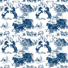 Vintage Western Ranch Seamless Pattern. American Wild West