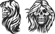 Hand Drawn Monochrome Female Skull With Hair Isolated On White Background. Vintage Design In Cartoon Sketch Style For Print, Tattoo. Vector Illustration.