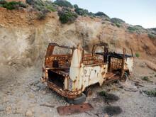 Rusty Old Minibus/van Abandoned Broken On A Greek Island