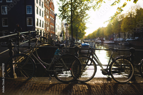 Fototapety, obrazy: Old bicycles on the bridge in Amsterdam. Netherland.