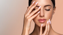 Beautiful Girl Hand Care  . Model Woman Showing  French  Shellac Manicure On Nails   . Cosmetics ,beauty And Makeup