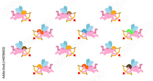 Vászonkép Pattern Cupids holding bows and shooting arrows on white background