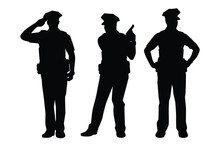 Set Of Policeman Silhouette Vector On White Background, Officer.
