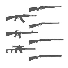 Firearms Silhouettes Collection, Shotgun, M16 Rifle And Hunt Handgun, Guns And Weapons, Vector