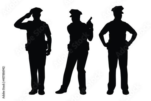 Fototapeta Set of policeman silhouette vector on white background, officer.