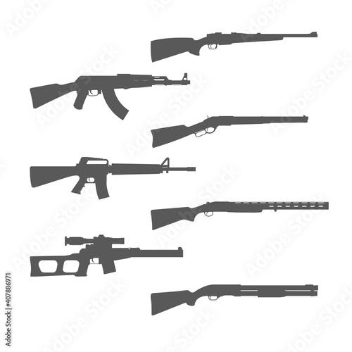 Obraz na plátně Firearms silhouettes collection, shotgun, m16 rifle and hunt handgun, guns and w