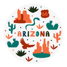 USA Collection. Vector Illustration Of Arizona Theme. State Symbols - Round Shape