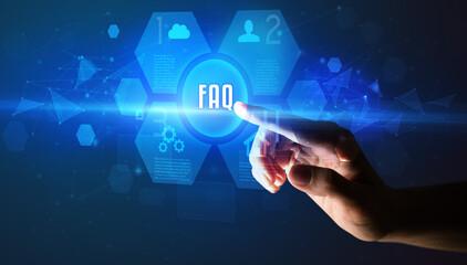 Hand touching FAQ inscription, new technology concept