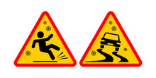Slippery Road Sign. Triangular Winter Temporary Warning Sign. For Pedestrians And Drivers Vector On Transparent Background