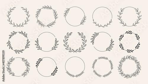 Fotografie, Obraz Set of black laurels frames branches with circle borders
