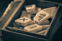 Closeup Of Rune Stones Based On Futhark Alphabet