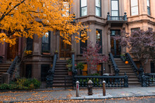Row Of Beautiful Old Brownstone Homes In Park Slope Brooklyn New York With Colorful Trees During Autumn Along A Sidewalk