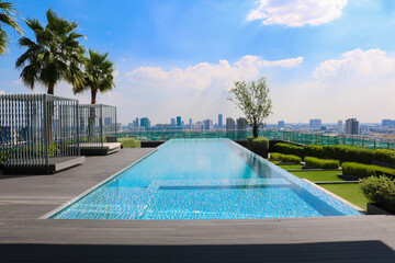 Beautiful long pool on a mansion balcony