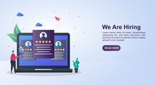Illustration Concept Of We Are Hiring With The Person Currently Selecting The Candidate On The Computer Screen.